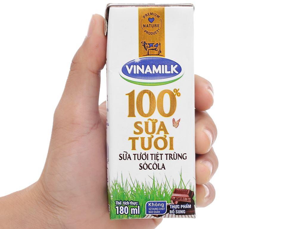 Lốc 4 hộp sữa tươi socola Vinamilk 100% Sữa Tươi 180ml 11