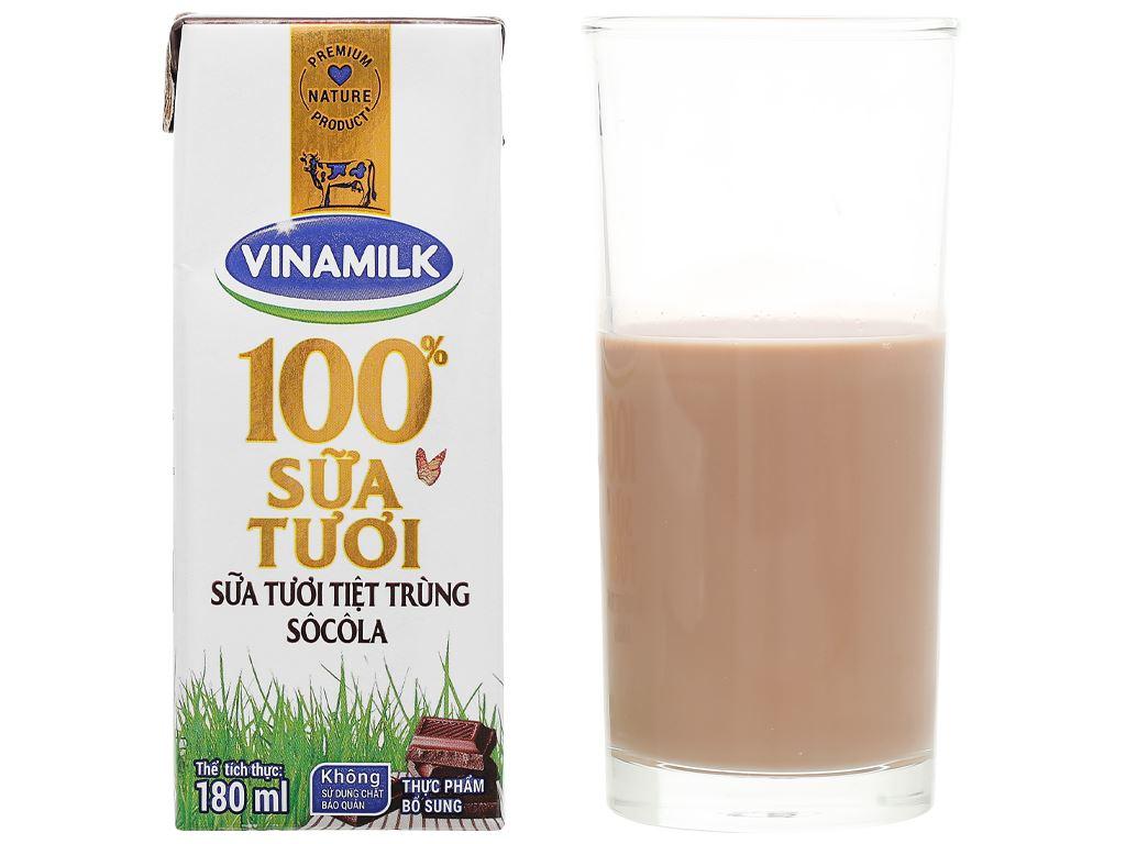 Lốc 4 hộp sữa tươi socola Vinamilk 100% Sữa Tươi 180ml 12