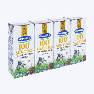 Lốc 4 hộp sữa tươi socola Vinamilk 100% Sữa Tươi 180ml