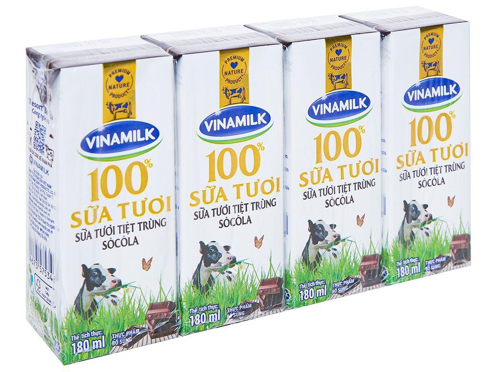 Lốc 4 hộp sữa tươi socola Vinamilk 100% Sữa Tươi 180ml 1