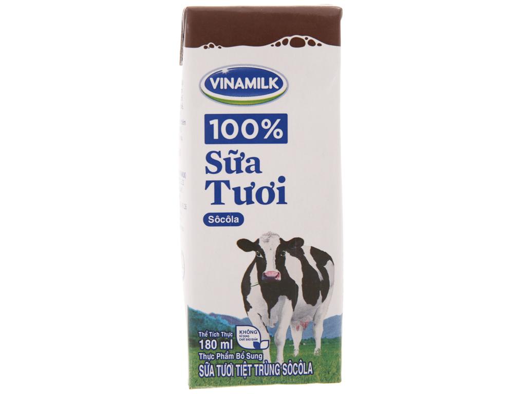 Lốc 4 hộp sữa tươi socola Vinamilk 100% Sữa Tươi 180ml 3