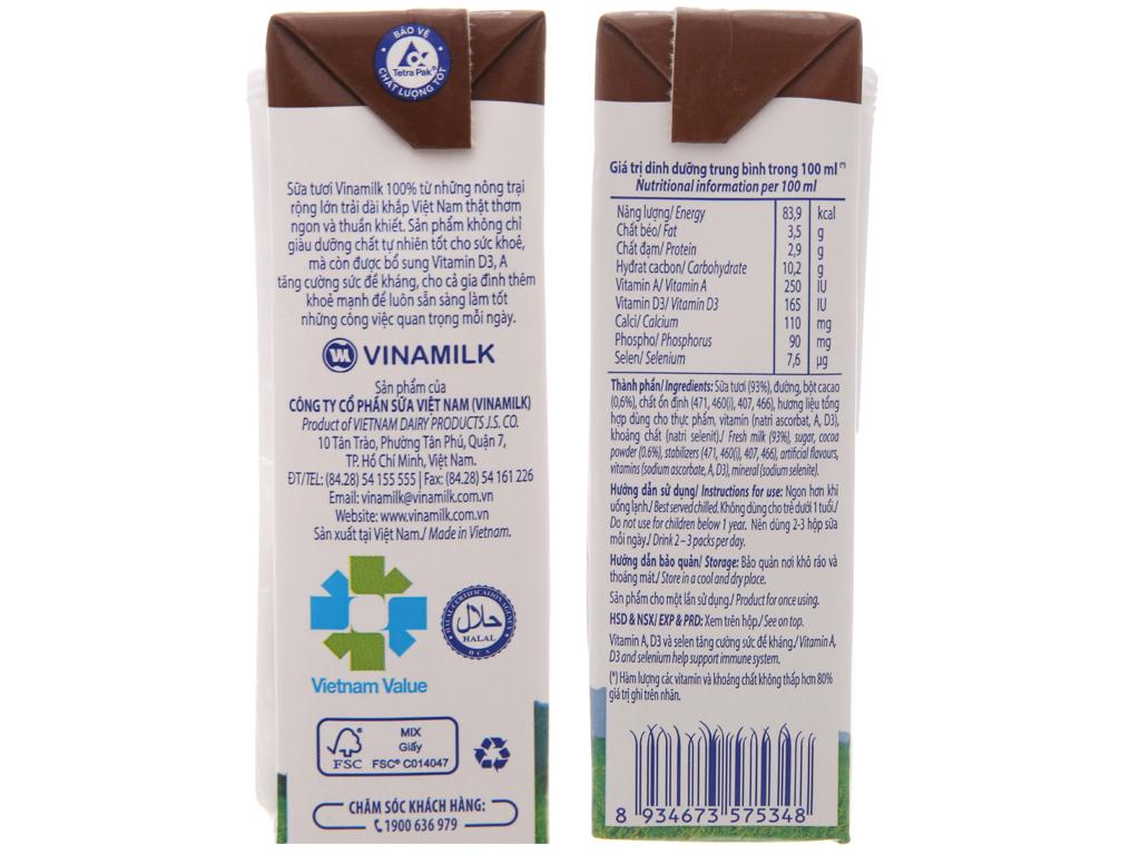 Lốc 4 hộp sữa tươi socola Vinamilk 100% Sữa Tươi 180ml 5
