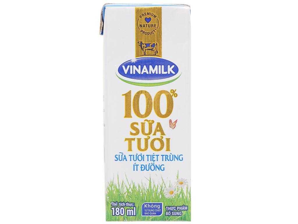 Lốc 4 hộp sữa tươi ít đường Vinamilk 100% Sữa Tươi 180ml 3