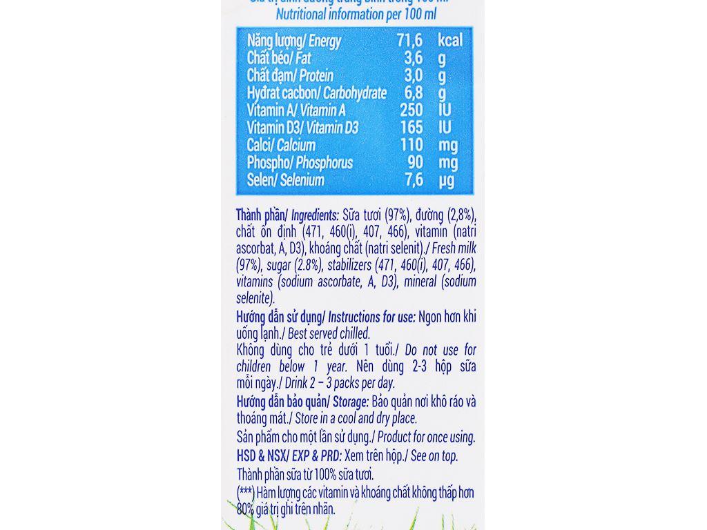 Lốc 4 hộp sữa tươi ít đường Vinamilk 100% Sữa Tươi 180ml 6