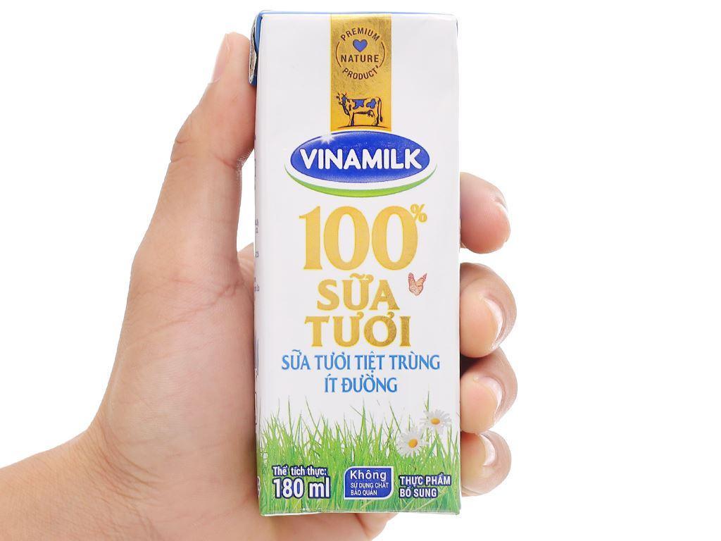 Lốc 4 hộp sữa tươi ít đường Vinamilk 100% Sữa Tươi 180ml 7