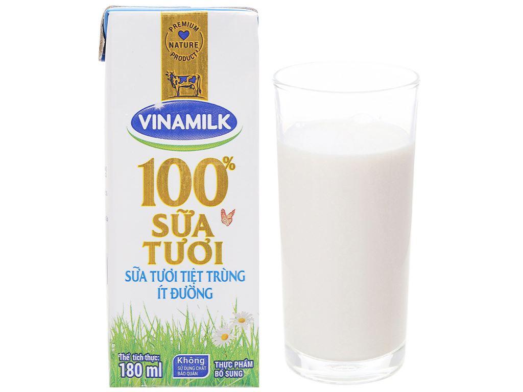 Lốc 4 hộp sữa tươi ít đường Vinamilk 100% Sữa Tươi 180ml 8