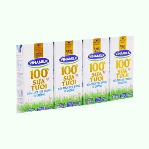 Lốc 4 hộp sữa tươi ít đường Vinamilk 100% Sữa Tươi 180ml