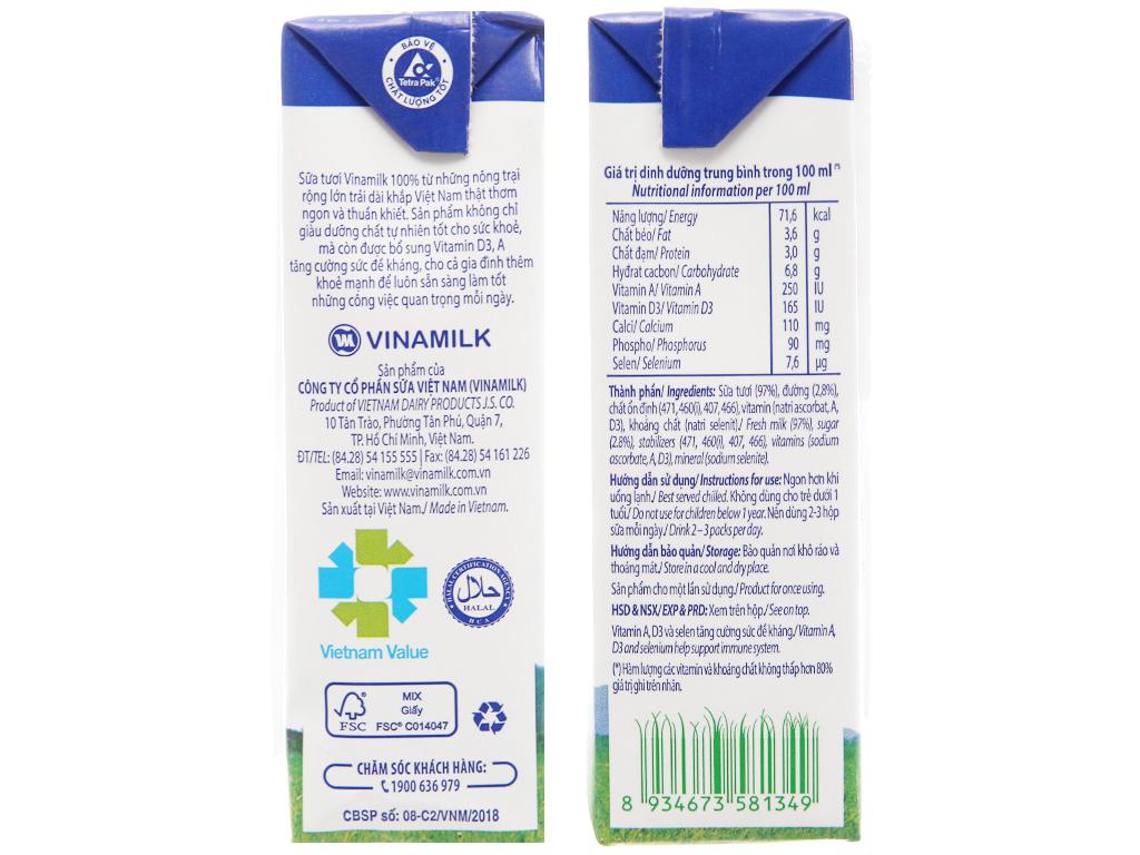 Lốc 4 hộp sữa tươi ít đường Vinamilk 100% Sữa Tươi 180ml 5