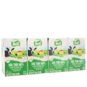 Lốc 4 hộp sữa tươi có đường Nuti 100% Sữa Tươi 110ml