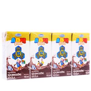 Lốc 4 hộp sữa dinh dưỡng Vinamilk ADM Gold sô cô la 110ml