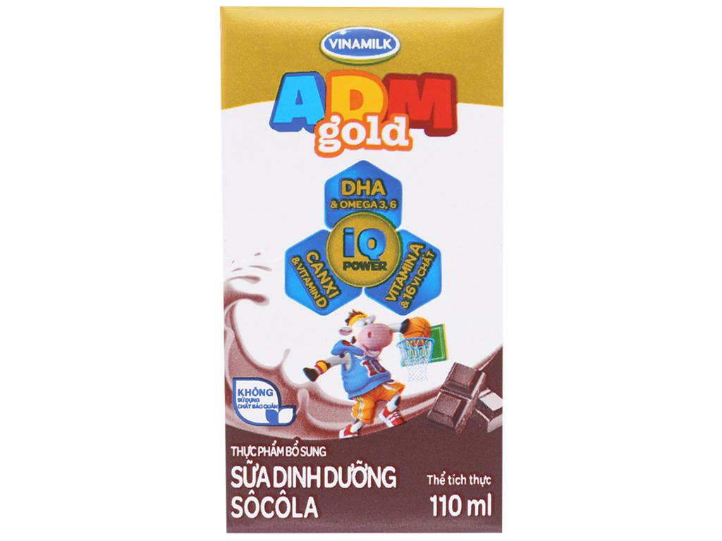 Lốc 4 hộp sữa dinh dưỡng socola Vinamilk ADM Gold 110ml 2