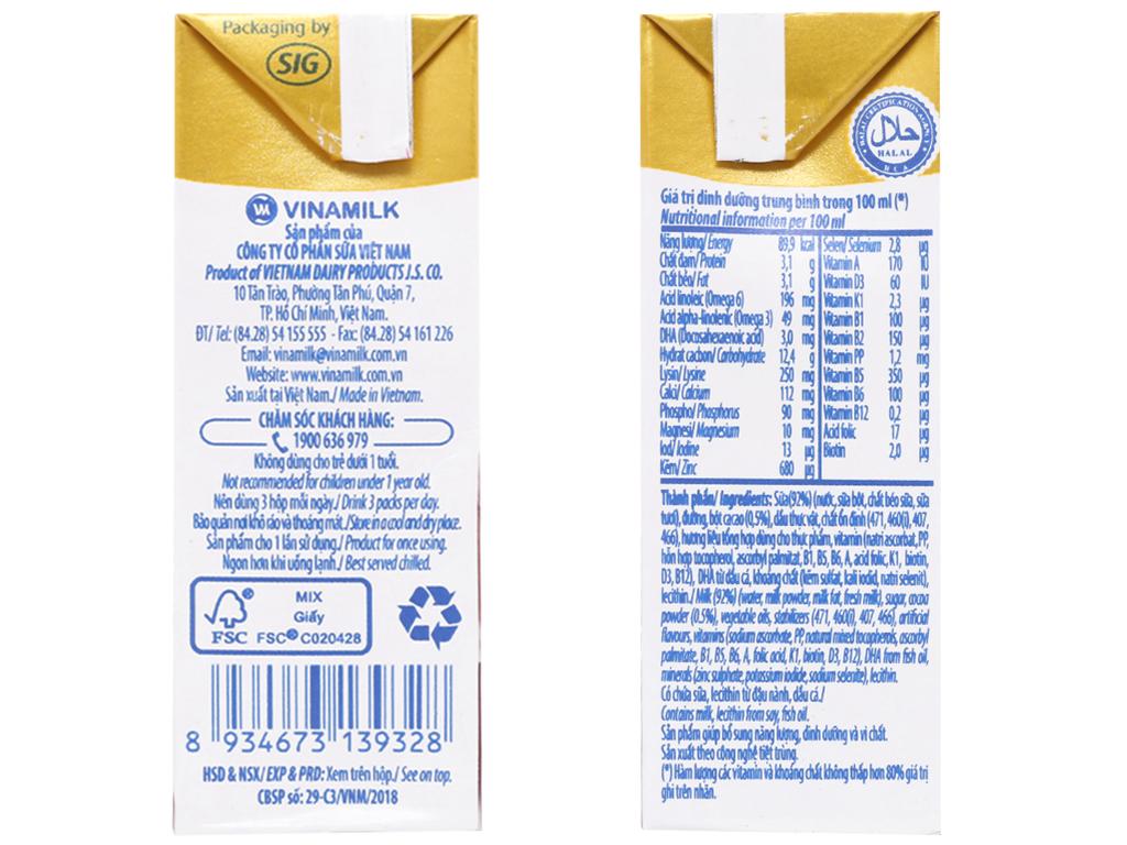 Lốc 4 hộp sữa dinh dưỡng socola Vinamilk ADM Gold 110ml 4