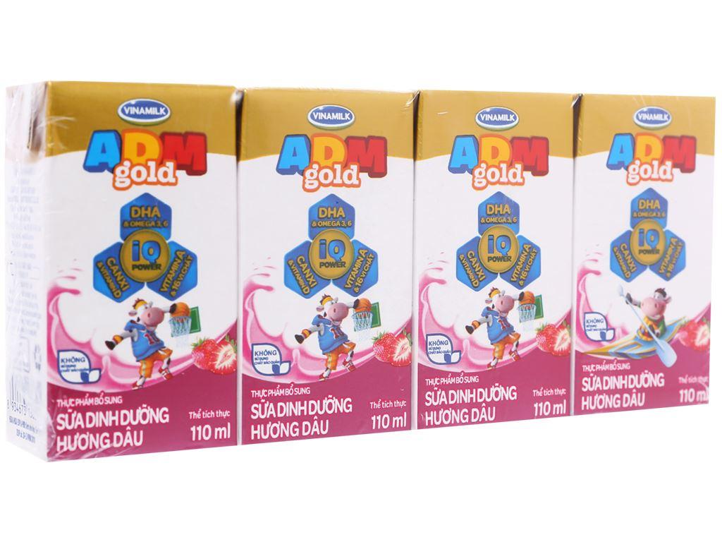 Lốc 4 hộp sữa dinh dưỡng hương dâu Vinamilk ADM Gold 110ml 1