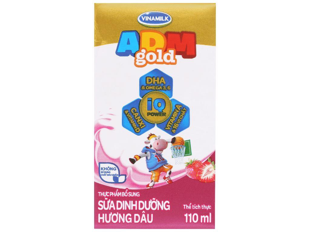 Lốc 4 hộp sữa dinh dưỡng hương dâu Vinamilk ADM Gold 110ml 2