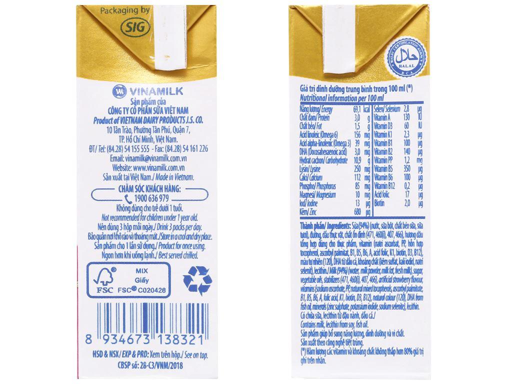 Lốc 4 hộp sữa dinh dưỡng hương dâu Vinamilk ADM Gold 110ml 4