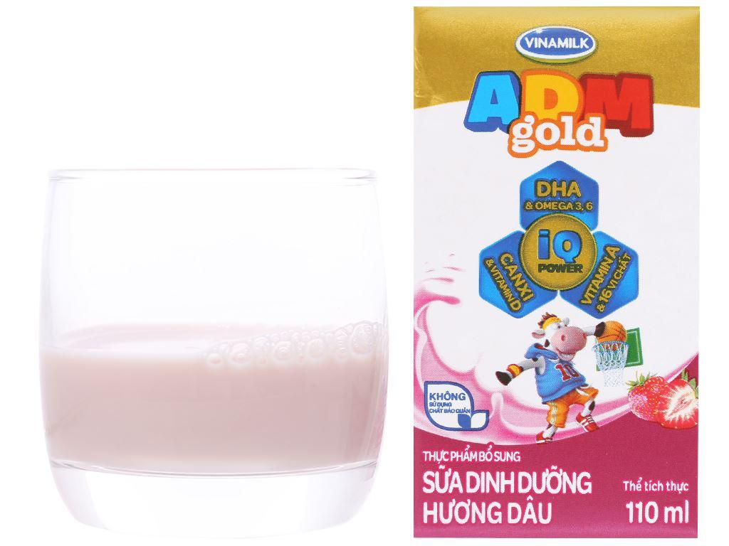 Lốc 4 hộp sữa dinh dưỡng hương dâu Vinamilk ADM Gold 110ml 5
