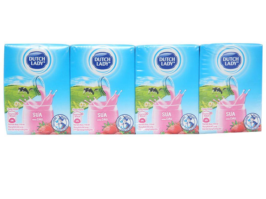 Lốc 4 hộp sữa tiệt trùng hương dâu Dutch Lady 110ml 1