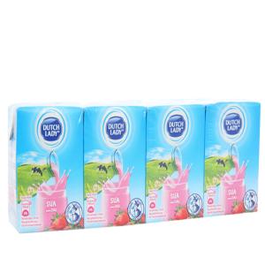Lốc 4 hộp sữa tiệt trùng Dutch Lady hương dâu 110ml