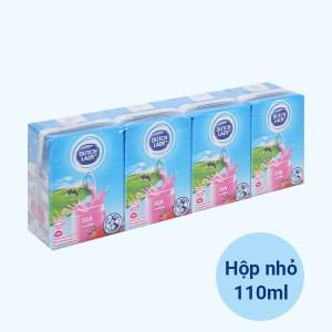 Lốc 4 hộp sữa tiệt trùng hương dâu Dutch Lady 110ml