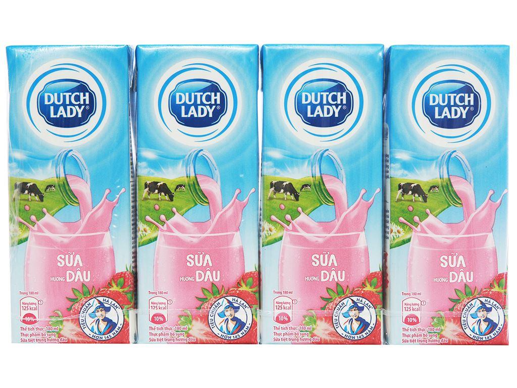 Lốc 4 hộp sữa tiệt trùng hương dâu Dutch Lady Active 180ml 1