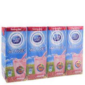 Lốc 4 hộp sữa tiệt trùng Dutch Lady Active hương dâu 180ml