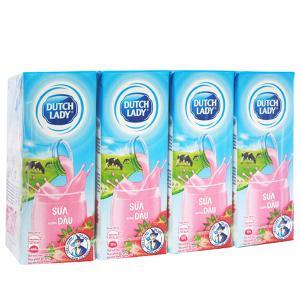Lốc 4 hộp sữa tiệt trùng hương dâu Dutch Lady Active 180ml