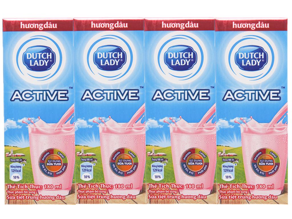 Lốc 4 hộp sữa tiệt trùng Dutch Lady Active hương dâu 180ml 2