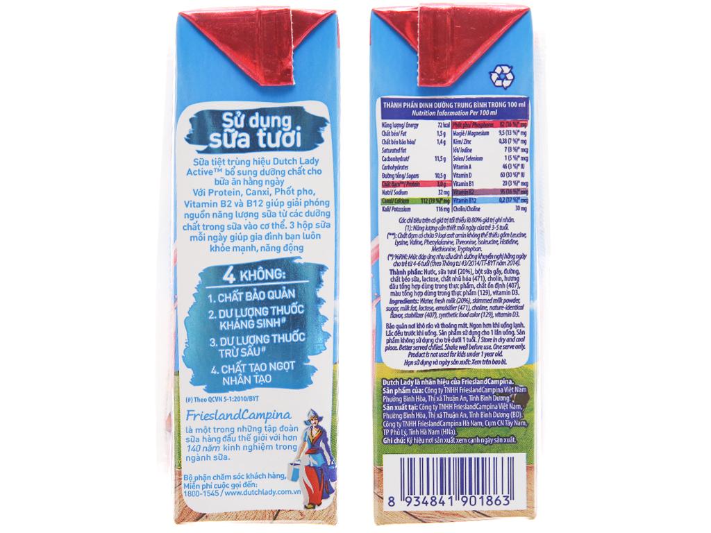 Lốc 4 hộp sữa tiệt trùng Dutch Lady Active hương dâu 180ml 5