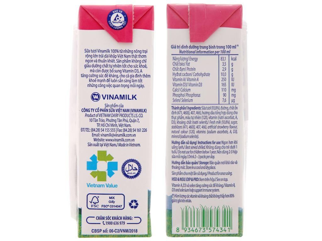 Thùng 48 hộp sữa tươi hương dâu Vinamilk 100% Sữa Tươi 180ml 5