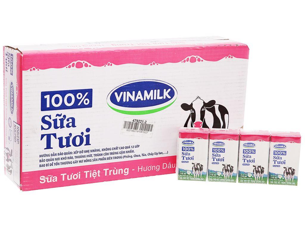 Thùng 48 hộp sữa tươi tiệt trùng Vinamilk 100% Sữa Tươi hương dâu 110ml 2