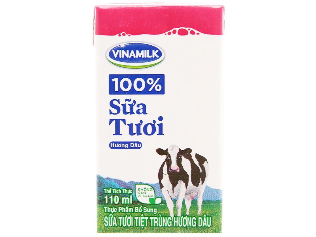 Thùng 48 hộp sữa tươi tiệt trùng Vinamilk 100% Sữa Tươi hương dâu 110ml 3
