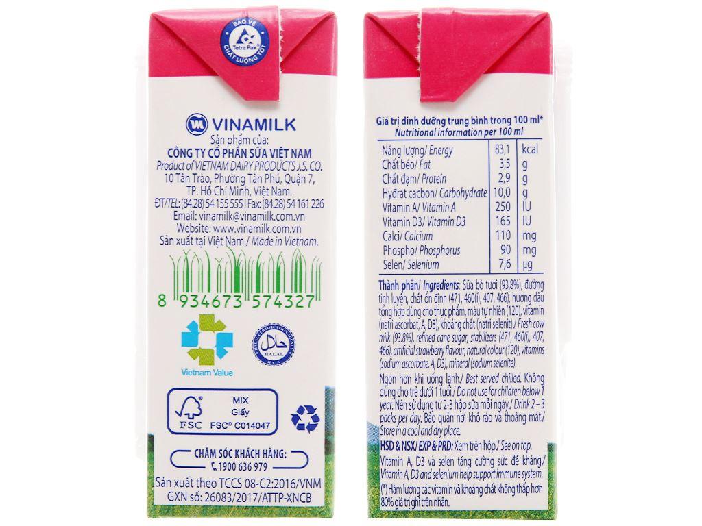 Thùng 48 hộp sữa tươi hương dâu Vinamilk 100% Sữa Tươi 110ml 5