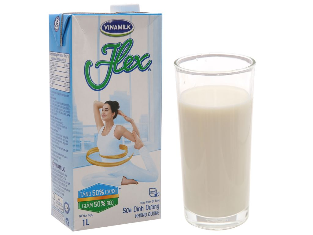 Thùng 12 hộp sữa Vinamilk Flex tăng 50% canxi không đường 1 lít 3