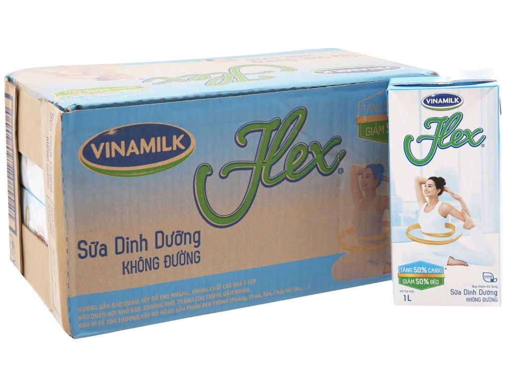 Thùng 12 hộp sữa Vinamilk Flex tăng 50% canxi không đường 1 lít 2