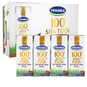 Thùng 48 hộp sữa tươi socola Vinamilk 100% Sữa Tươi 180ml