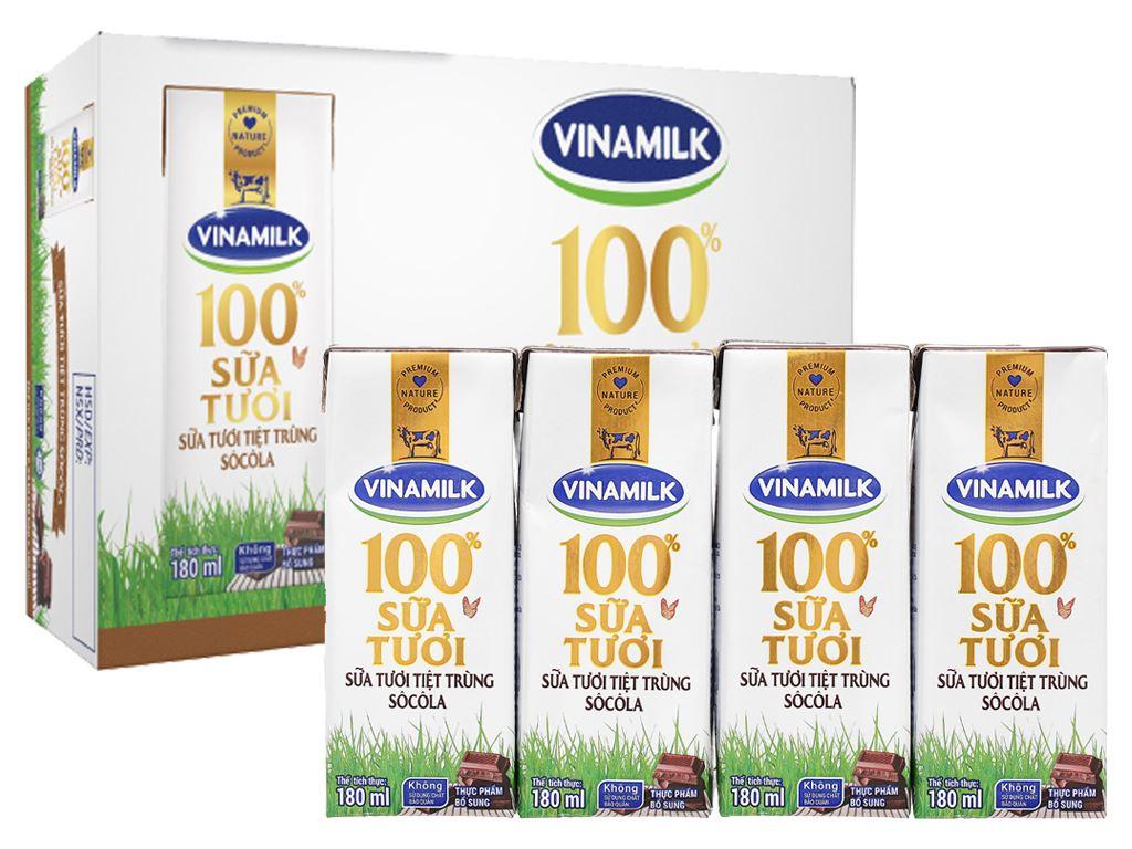 Thùng 48 hộp sữa tươi socola Vinamilk 100% Sữa Tươi 180ml 1