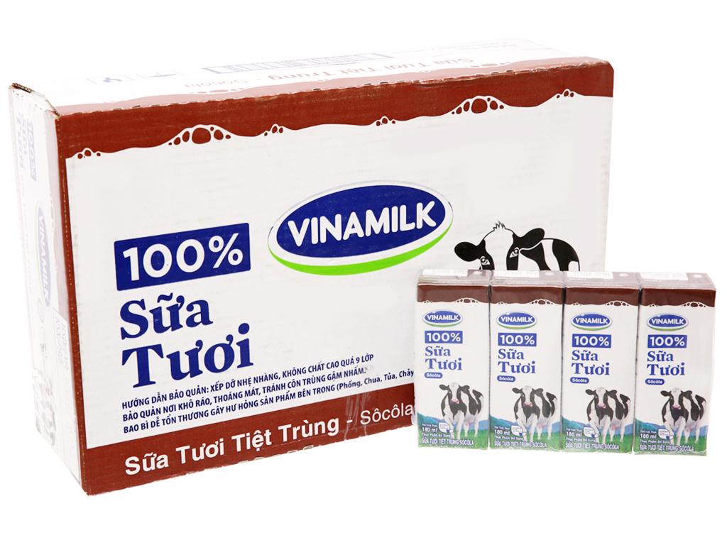 Thùng 48 hộp sữa tươi tiệt trùng Vinamilk 100% Sữa Tươi sô cô la 180ml 1