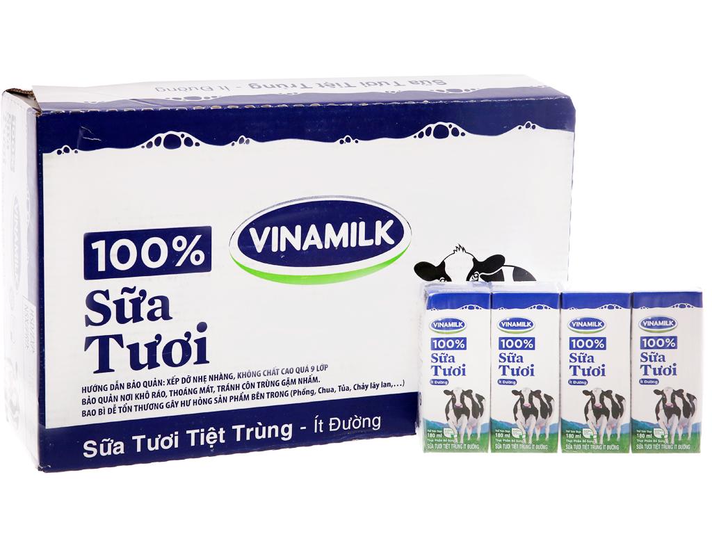Thùng 48 hộp sữa tươi tiệt trùng Vinamilk 100% Sữa Tươi ít đường 180ml 2
