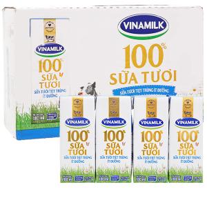 Thùng 48 hộp sữa tươi ít đường Vinamilk 100% Sữa Tươi 180ml