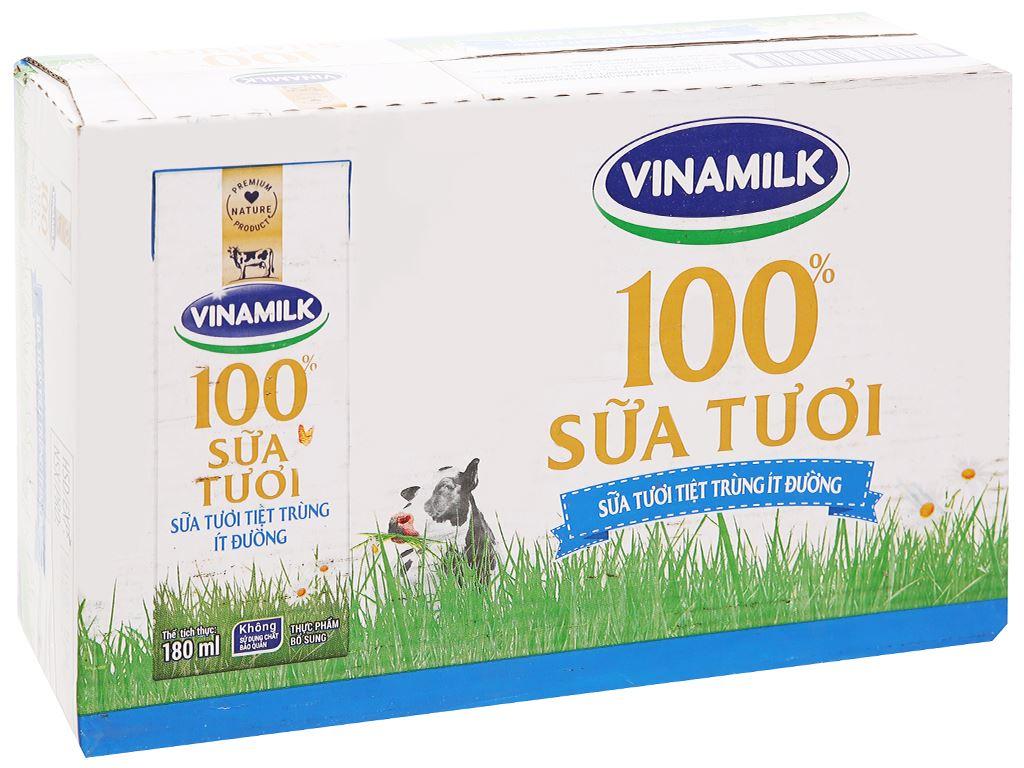 Thùng 48 hộp sữa tươi ít đường Vinamilk 100% Sữa Tươi 180ml 7