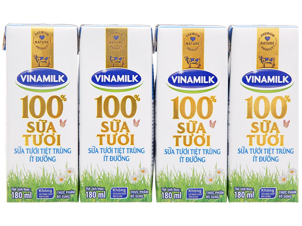 Thùng 48 hộp sữa tươi ít đường Vinamilk 100% Sữa Tươi 180ml 8
