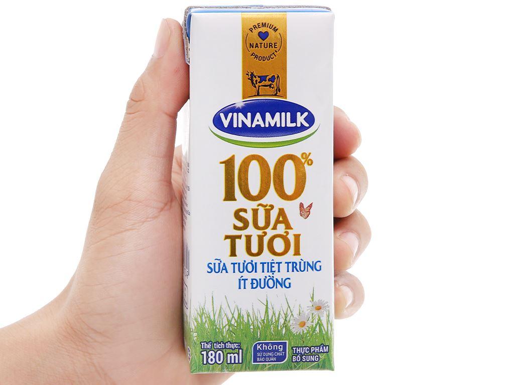 Thùng 48 hộp sữa tươi ít đường Vinamilk 100% Sữa Tươi 180ml 13
