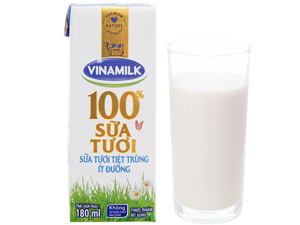 Thùng 48 hộp sữa tươi ít đường Vinamilk 100% Sữa Tươi 180ml 14