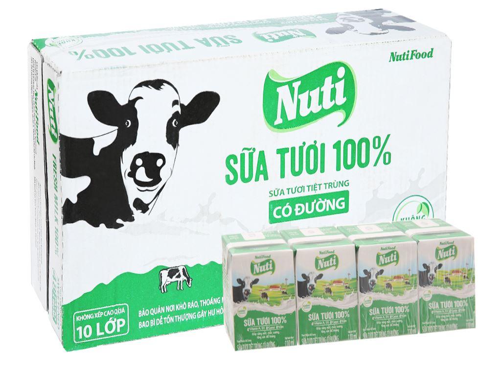 Thùng 48 hộp sữa tươi tiệt trùng có đường Nuti Sữa tươi 100% 110ml 1