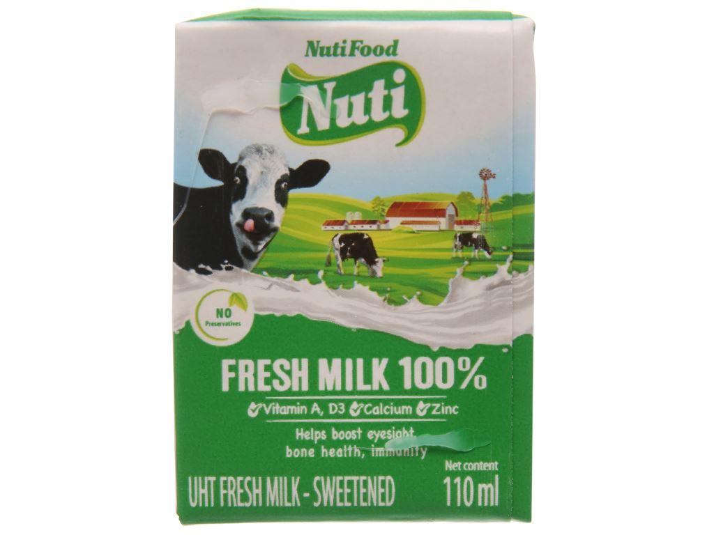 Thùng 48 hộp sữa tươi tiệt trùng có đường Nuti Sữa tươi 100% 110ml 2