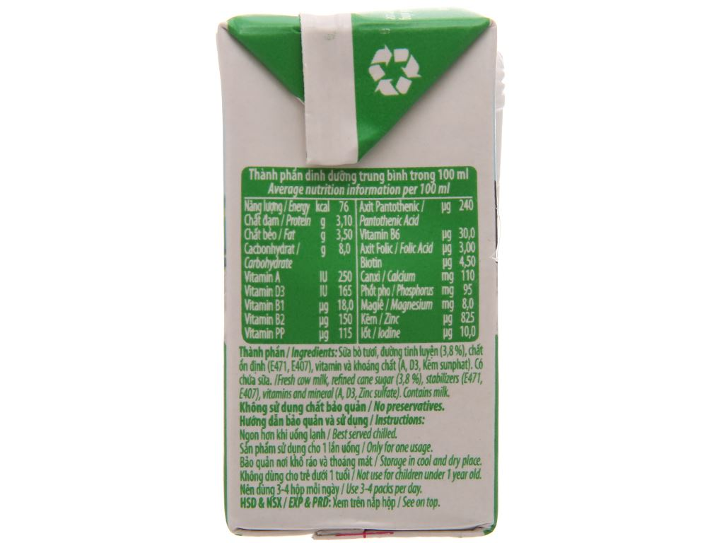 Thùng 48 hộp sữa tươi tiệt trùng có đường Nuti Sữa tươi 100% 110ml 3