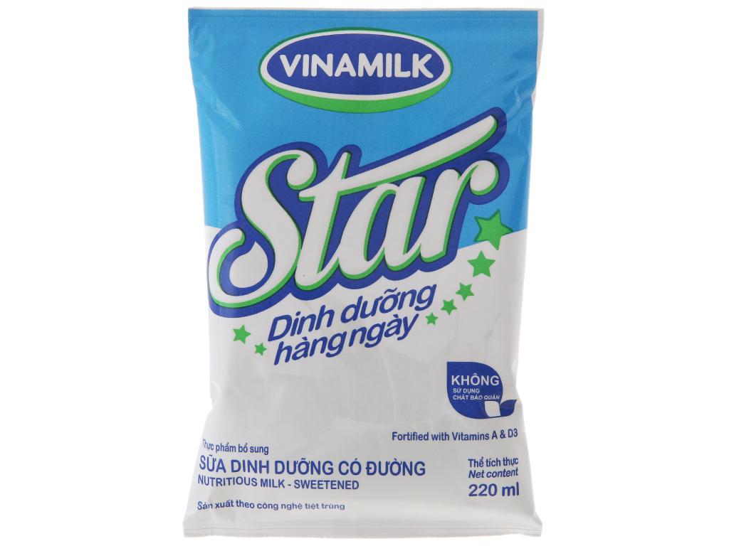 Thùng 48 bịch sữa dinh dưỡng Vinamilk Star có đường 220ml 3