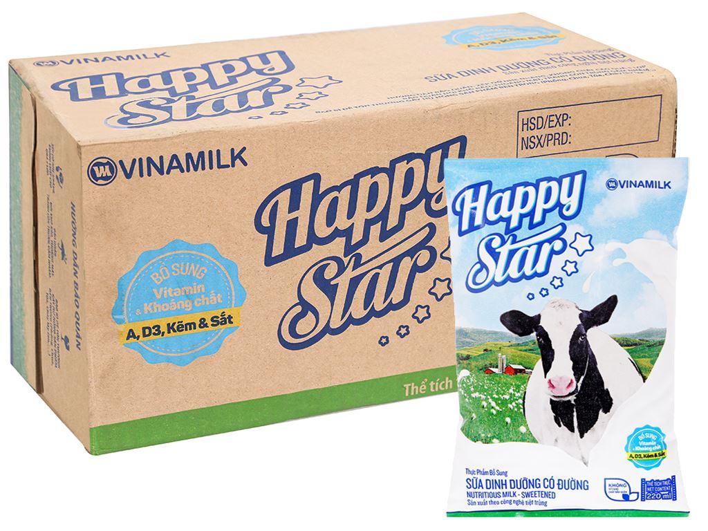 Thùng 48 bịch sữa dinh dưỡng có đường Vinamilk Happy Star 220ml 6