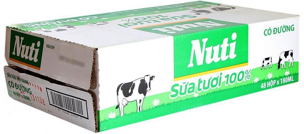 Sữa tươi có đường 100% Nuti (thùng 48 hộp)