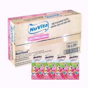 Thùng 48 hộp sữa tiệt trùng hương dâu Nuvita 180ml
